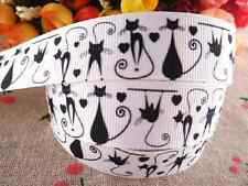 "1m CAT WHITE HALLOWEEN GROSGRAIN RIBBON 7/8"" 22mm HAIR BOW CAKE RIBBON"