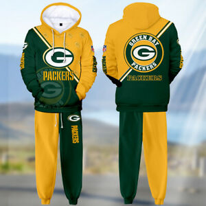 Green Bay Packers Mens Tracksuit Set Sweatpants Hoodie Sweatsuit Sportswear