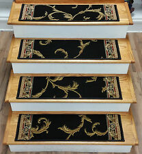"Rug Depot Set of 13 Traditional Non Slip Carpet Stair Treads 31"" x 9"" Black"