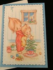 Vintage Hallmark Betsey Clark Christmas Card w Envelope Cute Girls Tree Star
