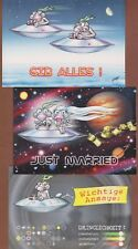 SET OF 3 comic POSTCARDS Space UFO Aliens Artist signed Woody