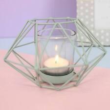 Metal Pastel Mint Green Geometric Design Candle Tea Light Holder 24716