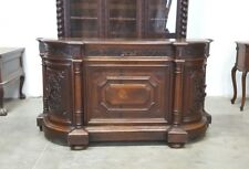 Large French Antique Sideboard With Curved Sides and Carved Doors In Walnut