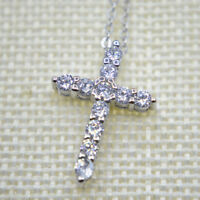"""Shiny 925 Sterling Silver PL Cross Cubic Zirconia CZ Pendant Necklace 17.7"""" Gift"""