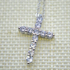 "Shiny 925 Sterling Silver PL Cross Cubic Zirconia CZ Pendant Necklace 17.7"" Gift"