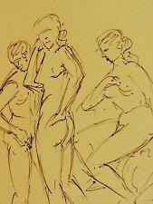 Barthel GILLES (1891-1977)Akt-Federzeichnung c 1955: 3 NACKTE, 2 FRAUEN & 1 MANN