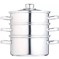 Kitchen Craft Clear View Stainless Steel Three Tier 18cm Steamer
