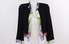 CHANEL - Black Boucle / Floral Silk Chiffon Trim Open Front Jacket - Size 34 / 0
