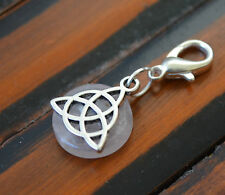 ROSE QUARTZ Crystal Triquetra Clip Charm Pendant Active Solar Eclipse Energy