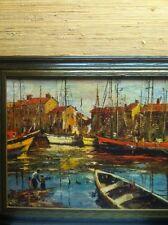 Vintage Framed Lithograph~Docked Sailboats~