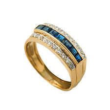 18K Yellow Gold Diamonds Genuine Sapphire Ring 4.2 Grams Ring Size 6