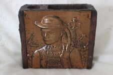 Antique Arts & Crafts Breton Copper Wooden Box for pens needles
