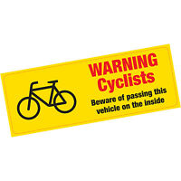 Warning Cyclists Beware of Passing on the Inside Vinyl Sticker HGV Lorry Van