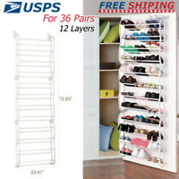 Over The Door Shoe Rack 36 Pair Wall Hanging Closet Organizer Storage Stand CLGO