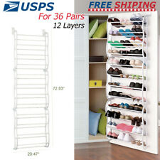 OVER THE DOOR SHOE RACK -12 LAYERS 36 PAIRS -HANGING SHOES STORAGE ORGANIZER CG