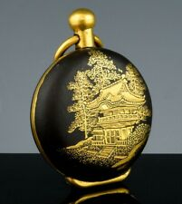 GREAT ANTIQUE JAPANESE GOLD GILT DAMASCENE SCENIC CHANGE COIN HOLDER WATCH FOB
