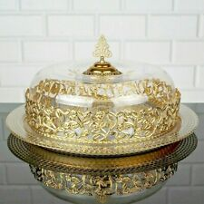 """Glass Cake Stand knob dome lid cover, gold silver metal, Handmade round 13"""" gift"""