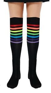 New Adult Referee Black and Rainbow OTK Socks Casual Fancy Dress Party UK