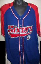 PHILADELPHIA 76ERS Starter Baseball Jersey BLUE & RED w sewn Logos 6X