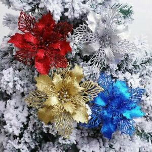10Pcs Glitter Christmas Poinsettia Hanging Flowers Xmas Party Tree Decoration