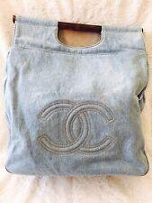 Chanel Denim CC Logo Tote Handbag Purse Fair Condition