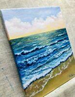 "Art10""/8""oil painting,sunset, Seascape,ocean,waves, landscape,beach,nature"