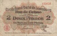 Vintage Luxembourg 2 Francs Banknote 1914 Francen, Mark, Pfennig Pick 22 Scarce