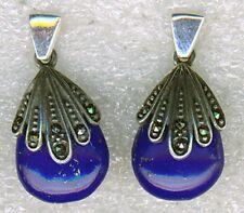 "925 Sterling Silver Lapis Lazuli & Marcasite Drop / Earrings Length 1"" 25mm"