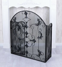 Spark protection fireplace screen country style black iron nostalgic foldable