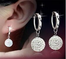 Elegant 925 Silver Filled Diamond Ball Earrings Women Wedding Jewelry A Pair/Set