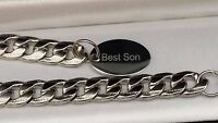 Boys Mens Silver Stainless Steel Curb Bracelet Personalised Engraved Gift 10 MM