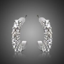 Cubic Zirconia Platinum Plated Earrings Silver Crystal Hoop Earring for Women