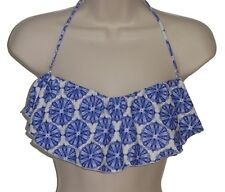 O'Neill bikini top swimsuit size L blue ruffle bandeau new