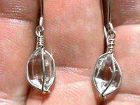 6x10 mm A Grade NY Herkimer Diamond Quartz Crystal Sterling Silver Earrings