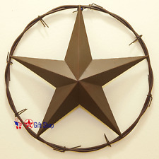 "Metal Barbwire Star Circle 16"" Wall Hanging Decoration"