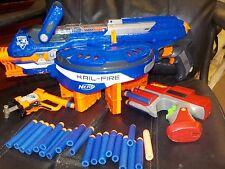 NERF N Strike Elite Hail Fire Motorized Dart Gun & 5 Clips Magazines Working