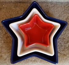 3 Chantal Star Baking Pan Dish Serving Bowls 1 Qt BLue, 2 cup White,1 cup Red