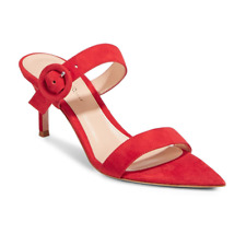*BNIB* GIANVITO ROSSI - Red Chamois Suede Slide Buckle Sandal - 38