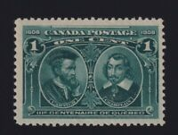 Canada Sc #97 (1908) 1c green Quebec Tercentenary Mint VF NH
