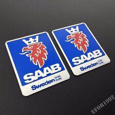 2pcs Aluminum Car Emblem Sweden Logo Badge Sticker Fit For SAAB 9-3 93 9-5 9-4X