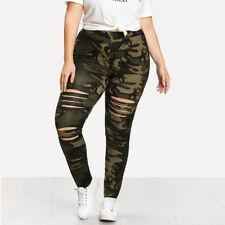 Fashion Plus Size NEW Women Camouflage Leggings Trousers Sport Hole Casual Pants