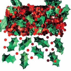 1 Christmas Table Confetti Red Berries Green Holly Leaves Xmas Party Decorations