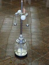 "VINTAGE 70's HAND-BLOWN CLEAR GLASS VENETIAN? TABLE LAMP w/ CHROME FIXTURE ~ 31"""