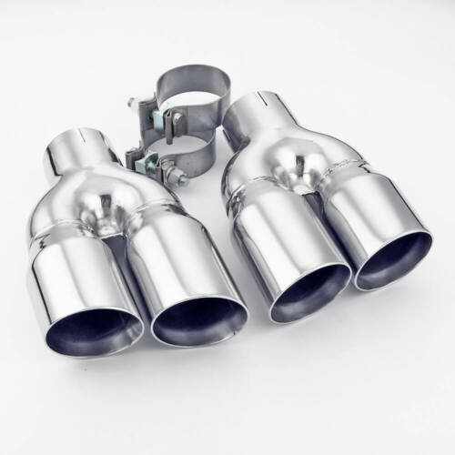 "Right Stainless Steel Dual 3/"" Outlet// Single 2.5/"" Inlet Slant Cut Exhaust Tip"