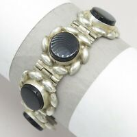 Vtg Early 1940's Mexican Sterling Silver Faceted Onyx Signed Mexico Bracelet
