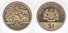 MALAYSIA - RARE 1$ RINGGIT PROOF COIN 1987 YEAR KM#43 30th ANNI INDEPENDENCE