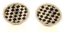 RACING FLAG CHECKERED CUFFLINKS STERLING SILVER VINTAGE
