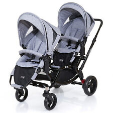 ABC Design Geschwisterwagen Kinderwagen Zwillingswagen Zoom - Graphite Black