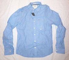 ABERCROMBIE & FITCH Button Down Striped Long Sleeve Shirt Blue White A&F M b