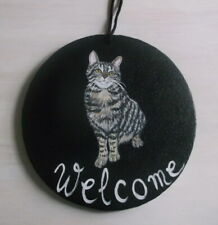 Gray Tabby Cat Hand Painted Welcome Sign Plaque